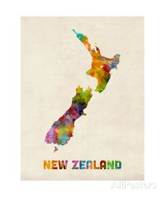 New Zealand, Watercolor Map Photographic Print by Michael Tompsett - at AllPosters.com.au