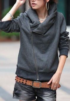 Cozy Collar  Stylish Dark grey Turn-Down Neck Long Sleeve Zippered Solid Color Women's Hoodie