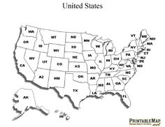 us map outline with state abbreviations printable united states map with state names