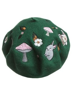 ♥ This cutest Woodland embroidered beret with an enchanted print of bunnies, squirrels and leaves is perfect for the autumn and fall season! Pick from three sui