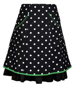 DOThea. Skirt in gorgeous, polkadot organic cotton [GOTS certified]. With cotton piping. It has elastic in the back so it is very flexible. http://ecouture.dk/rocke/dothea-black-green.html?___store=gb&___from_store=gb