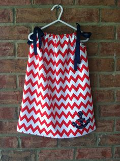 Red and White Chevron with Anchor Pillow Case Dress on Etsy, $15.00