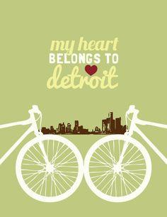 True story  Bicycle My Heart Belongs to Detroit Print by heartartdesign, $13.00
