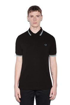 Fred Perry Polo Shirt- Black / Ecru / Glacier