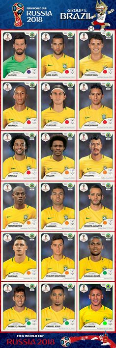 World Cup Brazil national team Panini stickers Brazil Players, Brazil Football Team, Brazil Team, Football 2018, Best Football Team, National Football Teams, Sport Football, Neymar Brazil, Brazil Brazil