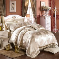 Jacquard silk bedding set is made from the finest quality, pure seamless mulberry silk. Silk Bedding, Silk Bedding Set, Bed Linens Luxury, Modern Bed, Bed, Bedroom Design, Luxurious Bedrooms, Grey Linen Bedding, Bed Linen Sets