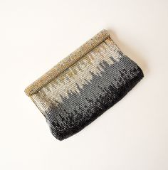 vintage 1950s metal tones beaded clutch purse