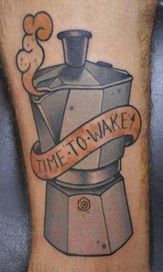 Cute coffee tattoo. Moka Pot, Time to wake.