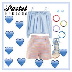 """""""Pastel Stripes"""" by love-a-pug ❤ liked on Polyvore featuring Hutch, Sandy Liang, Latelita and Cornetti"""