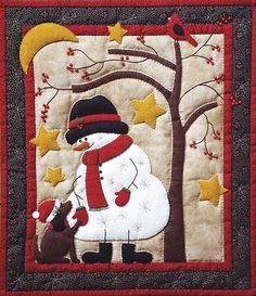 The Frosty and Friend wall quilt kit is the perfect stitching project for a cozy winter evening! Join Frosty and his puppy friend under the bare branches of a berry tree in the light of the crescent moon! Christmas Applique, Christmas Sewing, Christmas Snowman, Motifs Applique Laine, Applique Quilt Patterns, Snowman Quilt, Winter Quilts, Miniature Quilts, Quilted Wall Hangings