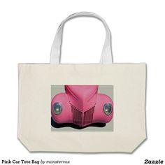 Pink Car Tote Bag #Pink #Car #Auto #Automobile #Vintage #Classic #Fashion #Tote #Bag