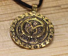 Bronze wheel of samsara buddhism dharmachakra pendant buddhism russian souvenir bronze astrolabe astrology zodiac pendant aloadofball Gallery