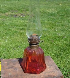 Antique Miniature Red Glass Oil Lamp & Chimney with Plume & Atwood Burner