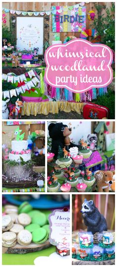 A whimsical woodland girl birthday party with cute woodland animals and colorful decorations! See more party planning ideas at CatchMyParty.com!