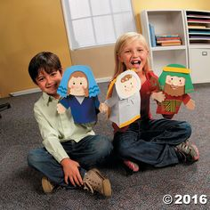 Put on a puppet show with these Nativity characters! Includes Mary Joseph and Jesus. Includes self-adhesive foam . People Puppets, Puppets For Kids, Christmas Craft Projects, Christmas Decorations To Make, Joseph Crafts, Nativity Characters, Paper Bag Crafts, Paper Bag Puppets, Puppet Crafts