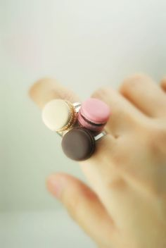 Felicity A Trio of French Macaroon Ring by DIVINEsweetness on Etsy, $42.00