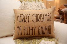 Burlap Pillow - Merry Christmas Ya Filthy Animal