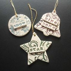 "Folksy :: Buy ""Set of 3 vintage style ceramic Xmas decorations"" | Craft Juice"