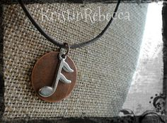 Mens Pewter Music Note and Copper Disc Necklace Music Note Pendant