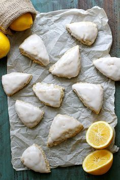 Mini Meyer lemon coconut scones are flaky, light and topped with a citrus-coconut glaze. Perfect for brunch or parties! Dairy free and vegan, too. Brunch Recipes, Breakfast Recipes, Dessert Recipes, Lemon Recipes, Baking Recipes, Scone Recipes, Irish Recipes, Breakfast Scones, Breakfast Bake