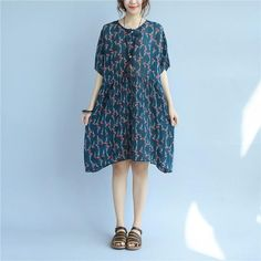Floral Printing Loose Casual Summer Women Cotton Folded Blue Dress