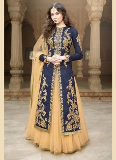 CAPTIVATING NAVY BLUE AND BEIGE EMBROIDERED LEHENGA