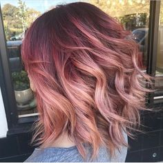23 Examples of Gorgeous Red Ombré Hair Hair Color And Cut, Cool Hair Color, Red Ombre Hair Color, Pink Hair Highlights, Funky Hair Colors, Creative Hair Color, Fall Hair Colors, Cabelo Inspo, Cabelo Rose Gold