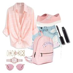 """pink"" by elsakaram ❤ liked on Polyvore featuring Alexander Wang, Accessorize, Sugarbaby, Emporio Armani, Vans, Oliver Peoples and Chanel"