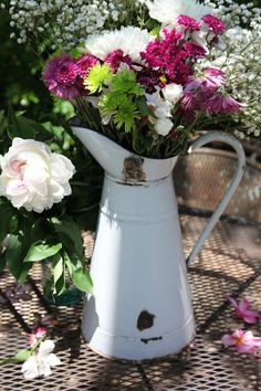 Large Antique White French Enamelware Body Pitcher