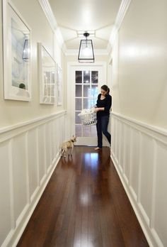 DIY Molding Wall color Edgecomb Gray by Benjamin Moore Trim wainscoting color Simply White Simply White, Edgecomb Gray, Home Remodeling, Foyer Lighting Fixtures Entryway, Hallway Lighting, Hallway Designs, Wall Color, Entryway Chandelier, Wainscoting Styles