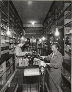 Students at work in Chemistry Lab Stock Room. 1935. UHPC, University Archive, Archives and Special Collections, CSU, Fort Collins, CO
