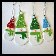 Glassworks Northwest - STORM the Small Snowman with the Green Hat and Lime Scarf…