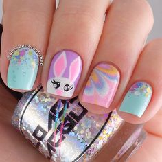Easter nails. Pink, blue and lilac. Rabbit Nail art. Water Marble Nail design. Polish. Polishes. @lifeisbetterpolished