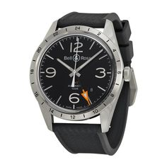 Bell and Ross Vintage Black Dial Black Rubber Men's Watch BRV123-BL-GMT-SRB - Vintage - Bell and Ross - Shop Watches by Brand - Jomashop