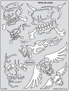 artool freehand airbrush templates son of skull master devil or angel
