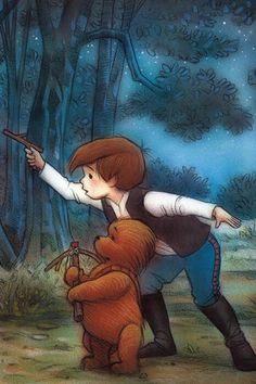 Christopher Robin as Han Solo Winnie the Pooh as Chewbacca