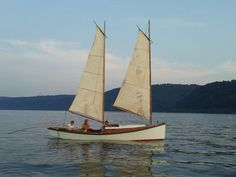 """An Egret sailing in the Chesapeake 2012   Length: 23' 8""""   Beam: 6'    Draft: 12"""" board up, board down 32"""" Scaled from Wooden Boat plans."""