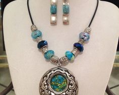"""Unique Fashion Jewelry for Women - 17.5"""" Necklace-FREE 1.5"""" Earrings  - Jewelry Sets - Blue - Silver - Unique - Handmade - Made in USA"""