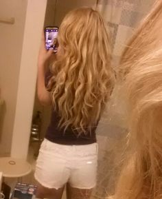Curly blonde hair