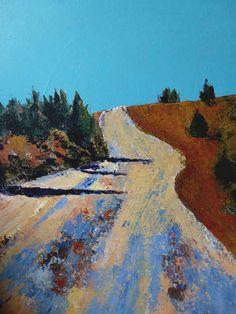 Artwork >> Sancelme Marie-Noelle >> Rocky road  #artworks, #nature, #paining, #masterpiece, #road