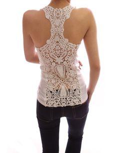 PattyBoutik White Crochet Eyelet Lace Back Cami Vest Top