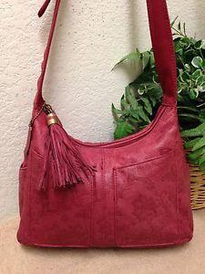 Cabin Creek Red Floral Embossed Leather Organizer Shoulder Handbag Bag  Tassel VG   eBay 9254b30b3c
