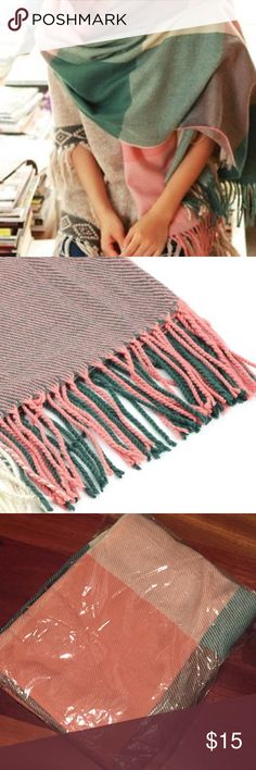 """Pink & Green Plaid Blanket Wrap Shawl Scarf Pink & Green Plaid Blanket Shawl Scarf.quality yarn and cotton processing. Very soft and cozy, close to the skin, giving you lasting warmth and softness. Dimensions: Length- 75"""" x Width- 23"""" (tassel 4""""). Love these to stay warm on the airplane or add an accent to wardrobe! New in packaging. Feel free to make an offer or bundle & save! Accessories Scarves & Wraps"""