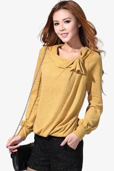 #Romwe Yellow Tied Bow Blouse