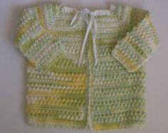 Crochet bebé suéter en amarillo/verde