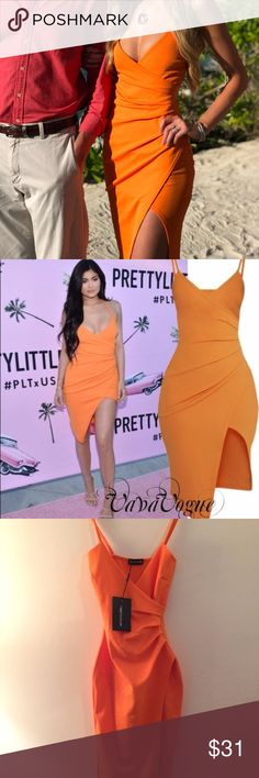 Pretty Little Thing Lauriell Cocktail Summer Dress Worn once to a beach wedding for a few hours!   Turn heads in this bold and bright show-stopping dress. In luxe crepe fabric and featuring curve skimming shape, just add some killer heels for an effortlessly stunning look that even the IT girls would get papped in. Pretty Little Thing Dresses Midi