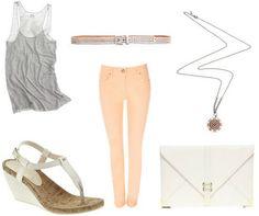 Gray Tank + Peach Skinny Jeans + White Envelope Clutch + White Sandal Wedges + Opera Necklace + Sparkle Belt
