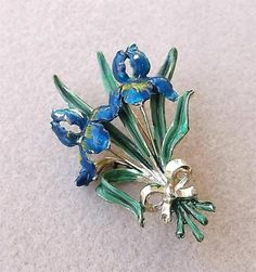 Delightful Vintage Signed Exquisite Iris April Birthday Brooch