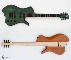 "GV guitars - ""Z-phyr_The grEEn MoNSTeR; Specifications -neck trough -26"" scale -24 fret -mate finish Neck -maple neck -ebony fingerboard Body -swietenia mahogany wings -flamed maple top Hardware -Schaller Hannes bridge -Schaller M6 tuner -Schaller strap lock -Graphtech nut Electronic -Kent Armstrong mini humbuckers -vol/ 3way switch/ tone https://www.facebook.com/gvhandmade/"