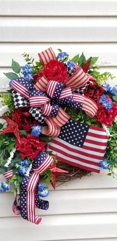 Spring summer wreaths independence of July Spring Wreaths, Summer Wreath, Holiday Wreaths, Holiday Decor, Patriotic Wreath, Patriotic Decorations, 4th Of July Wreath, Cemetery Flowers, Door Hangers